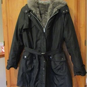 Black Trench Coat Removable Faux Fur Lining